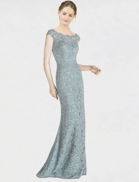 Cheap Blue Mermaid Fit and Flare Off the Shoulder Floor Length Cap Sleeves Lace Bridesmaid Dress Sydney