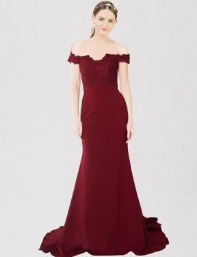 Cheap Burgundy Gold Mermaid Sweetheart Off the Shoulder Sweep Train Floor Length Stretch Crepe & Lace Bridesmaid Dress Sydney