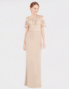 Cheap Champagne A-Line Off the Shoulder Floor Length Sleeveless Chiffon & Lace Bridesmaid Dress Sydney
