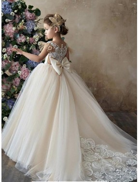 Cheap Champagne Ball Gown Sweetheart Chapel Train Sleeveless Lace & Tulle Flower Girl Dress Sydney