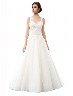 Cheap Ivory A-Line Illusion Cathedral Train Sleeveless Tulle Wedding Dress Sydney