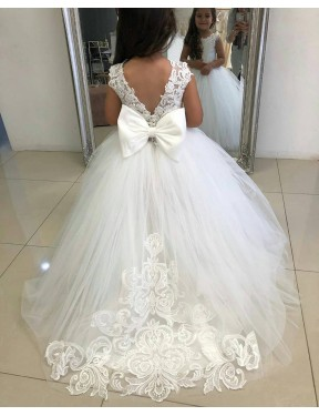 Cheap Ivory Ball Gown Chapel Train Sleeveless Lace & Tulle Flower Girl Dress Sydney