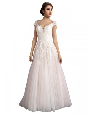 Cheap Ivory & Champagne A-Line Illusion Cathedral Train Cap Sleeves Tulle Wedding Dress Sydney