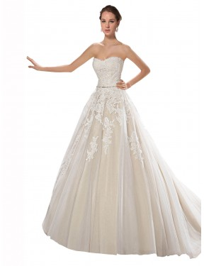 Cheap Ivory & Champagne A-Line Strapless Chapel Train Sleeveless Tulle & Lace Wedding Dress Sydney
