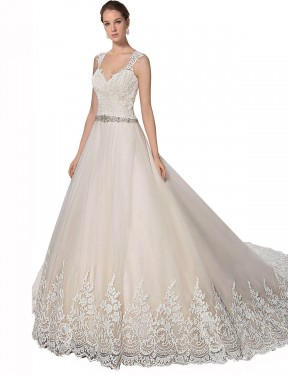 Cheap Ivory & Champagne A-Line Sweetheart Chapel Train Sleeveless Tulle & Lace Wedding Dress Sydney
