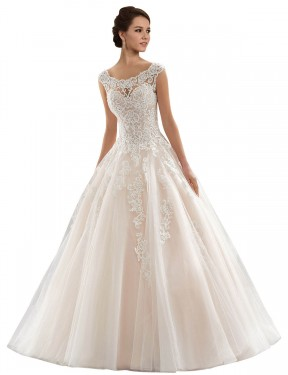 Cheap Ivory & Champagne Ball Gown Bateau Chapel Train Cap Sleeves Lace & Tulle Wedding Dress Sydney