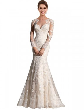 Cheap Ivory & Champagne Mermaid Illusion Chapel Train Long Sleeves Lace & Tulle Wedding Dress Sydney