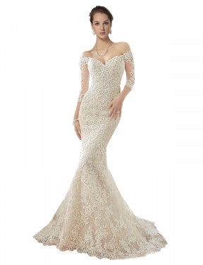 Cheap Ivory & Champagne Mermaid Off the Shoulder Chapel Train Long Sleeves Lace & Tulle Wedding Dress Sydney