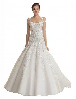 Cheap Ivory Mermaid Off the Shoulder Sweep Train Sleeveless Lace & Tulle Wedding Dress Sydney