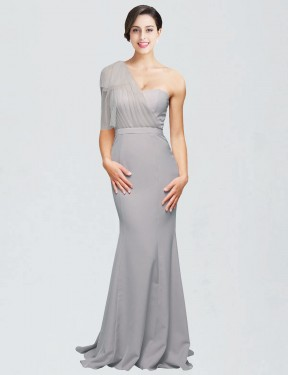 Cheap Oyster Silver Mermaid Sweetheart One Shoulder Sweep Train Floor Length Stretch Crepe Bridesmaid Dress Sydney