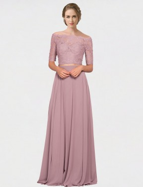 Cheap Pink A-Line Off the Shoulder Floor Length Short Sleeves Chiffon & Lace Bridesmaid Dress Sydney