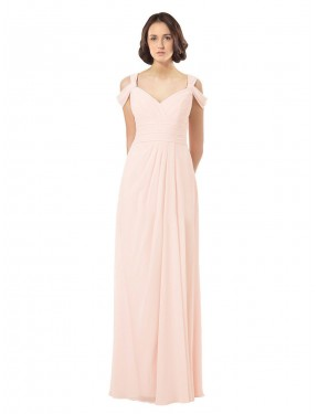 Cheap Pink A-Line SweetheartJewelIllusion Off the Shoulder Floor Length Sleeveless Chiffon Bridesmaid Dress Sydney