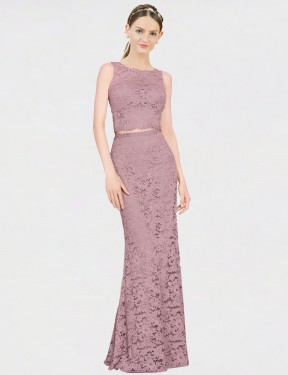 Cheap Pink Mermaid Fit and Flare Illusion Neckline Floor Length Sleeveless Lace Bridesmaid Dress Sydney