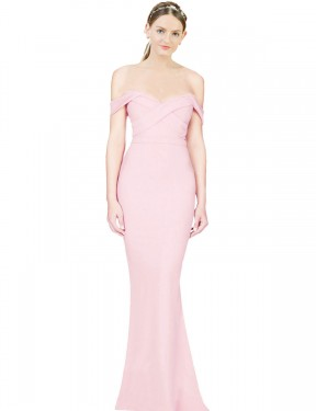 Cheap Pink A-Line Strapless High Low Off the Shoulder Stretch Crepe Bridesmaid Dress Sydney