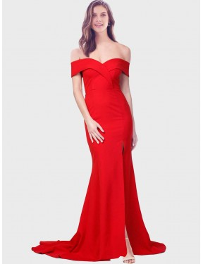 Cheap Red Mermaid Sweetheart Floor Length Off the Shoulder Stretch Crepe Bridesmaid Dress Sydney