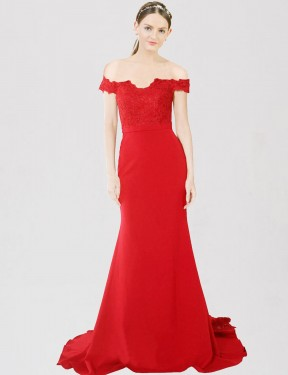 Cheap Red Mermaid Sweetheart Off the Shoulder Sweep Train Floor Length Stretch Crepe & Lace Bridesmaid Dress Sydney