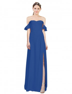 Cheap Royal Blue A-Line Off the Shoulder Sweetheart Floor Length Sleeveless Stretch Crepe Bridesmaid Dress Sydney