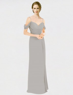 Cheap Silver A-Line Spaghetti Straps Sweetheart Off the Shoulder Floor Length Sleeveless Chiffon & Lace Bridesmaid Dress Sydney