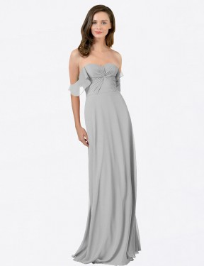 Cheap Silver A-Line Strapless Sweetheart Floor Length Off the Shoulder Chiffon Bridesmaid Dress Sydney