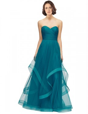 Cheap Turquoise A-Line Sweetheart Strapless Floor Length Sleeveless Tulle Bridesmaid Dress Sydney