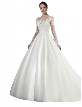 Cheap White A-Line Illusion Cathedral Train Long Sleeves Satin & Lace Wedding Dress Sydney