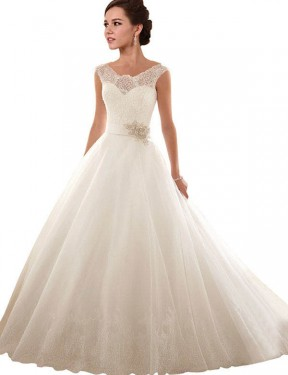 Cheap White Ball Gown Off the Shoulder Chapel Train Sleeveless Lace & Tulle Wedding Dress Sydney